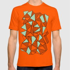 Abstraction Lines with Mint Blocks Orange SMALL Mens Fitted Tee