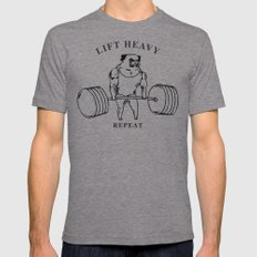 Lift Heavy Pug LARGE Tri-Grey Mens Fitted Tee