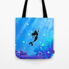 Beauty Mermaid Blue Sea Tote Bag