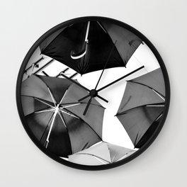 Black Umbrellas Wall Clock