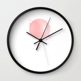 Splashed Pink Lollipop Wall Clock