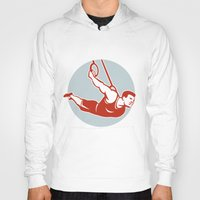 crossfit Hoodies featuring Crossfit Pull Up Bar Circle Retro by patrimonio