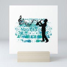 Saxophone Saxophonist Clef Jazz Music Gift Idea Mini Art Print