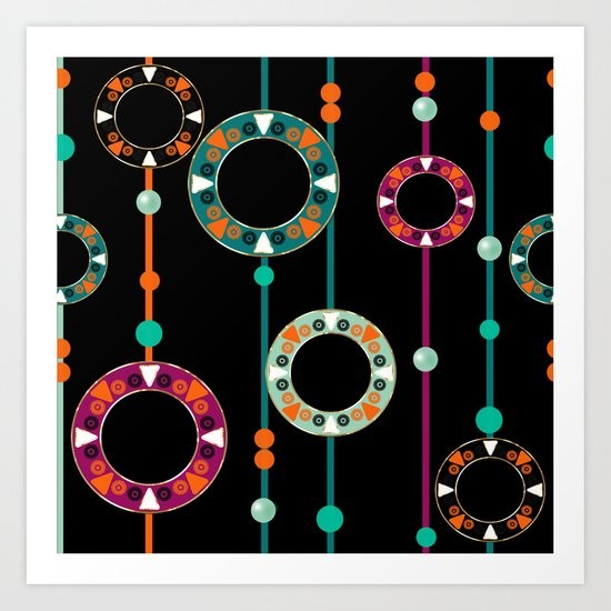 Abstract folk african pattern. Multi-colored circles rings. Art Print