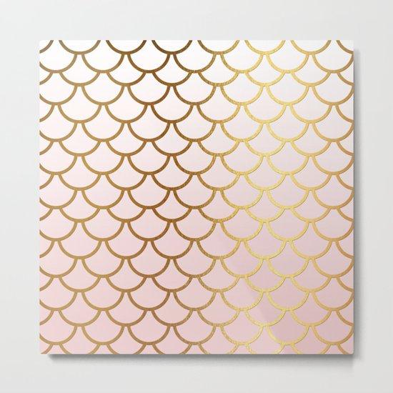 Pink Gradient and Gold Foil MermaidScales - Mermaid Scales on  #Society6 Metal Print