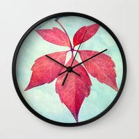 be happy Wall Clocks featuring happy by Claudia Drossert