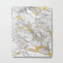 Gold Flecked Marble Metal Print
