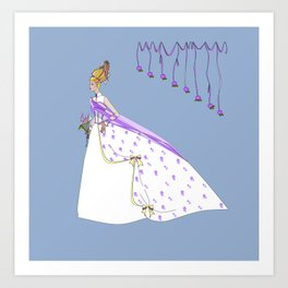 The Bouffant Bride in White with Satin Bows Art Print