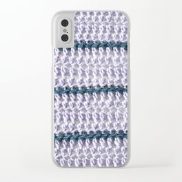 Lilac and teal striped crochet Clear iPhone Case