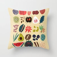 spice Throw Pillows featuring Fruit and Spice Rack by Picomodi