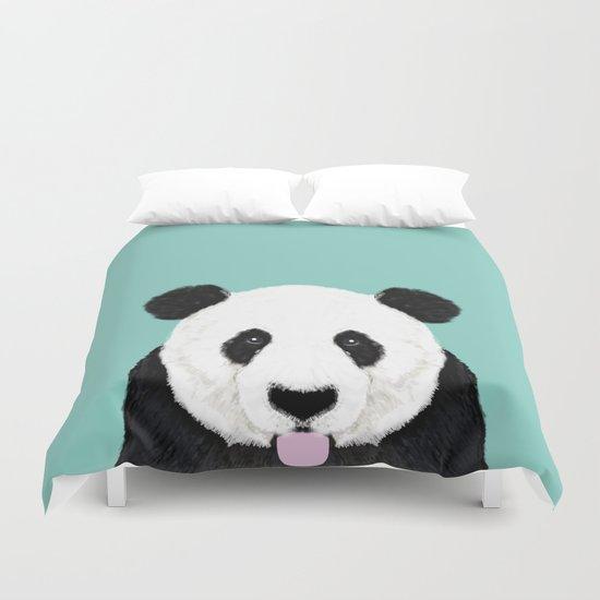 Panda - mint - cute black and white animal portrait,  design, illustration, animal cell phone, case, Duvet Cover