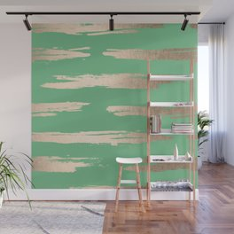 Abstract Paint Stripes Gold Tropical Green Wall Mural