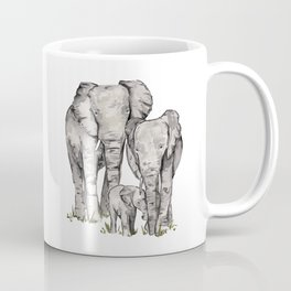 Elephant Family, Elephant Watercolor Painting, Animal Family Coffee Mug