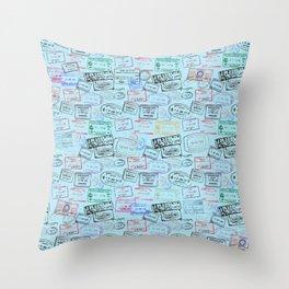 Worldly Traveler - Passport Pattern - Light Blue Throw Pillow