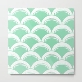Japanese Fan Pattern Mint Green Metal Print