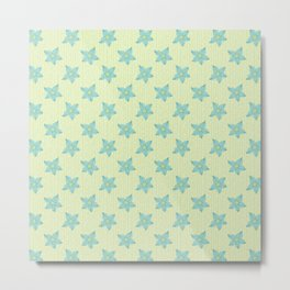 Teal flowers on a mint green background Metal Print