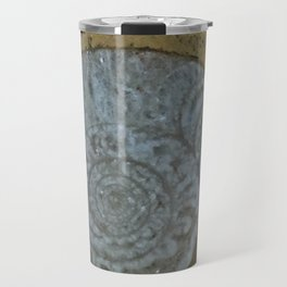 Ammonite in fossilized river bed Travel Mug
