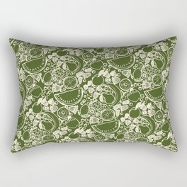Fruit Print Green Rectangular Pillow