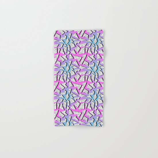Gnarly - retro memphis throwback pattern print 1980s 80's style minimal modern pop art neon hipster Hand & Bath Towel