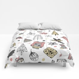 Christmas pattern, winter holiday background. Comforters
