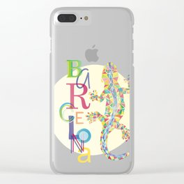 Barcelona City Lizard Clear iPhone Case