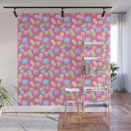 Colorful Doodle Gems Pattern on a Bright Pink Background Wall Mural