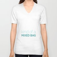 tote bag V-neck T-shirts featuring Not another tote bag by Technostalgia