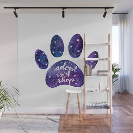 Adopt don't shop galaxy paw - purple Wall Mural