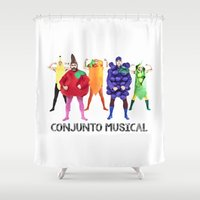 vegetables Shower Curtains featuring Human Vegetables by Orbon Alija