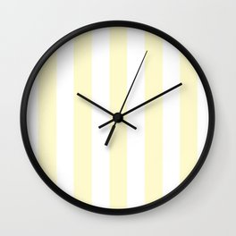 Lemon chiffon pink - solid color - white vertical lines pattern Wall Clock