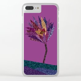 Purple flower with gold streak (purple) Clear iPhone Case