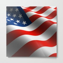 Patriotic US Waving Flag  Metal Print