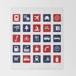 Travel Icons in RWB Throw Blanket