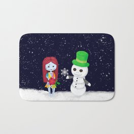 Snowman Jack and Sally with Poinsettia Bath Mat