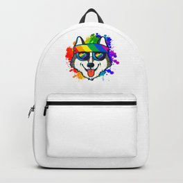 Happy Husky Showing Some Rainbow Love Backpack