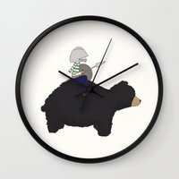hermione Wall Clocks featuring Henry and Hermione - Be Adventurous by Little Moon Dance
