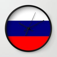 patriots Wall Clocks featuring Flag of Russia by TilenHrovatic