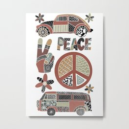 Peace, love, and vans Metal Print