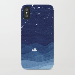 blue ocean waves, sailboat ocean stars iPhone Case