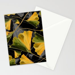 Yellow Ginkgo Leaves on Black Stationery Cards