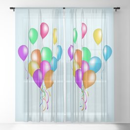 Bunch of Bright Colorful Festive Balloons With Streamers Sheer Curtain