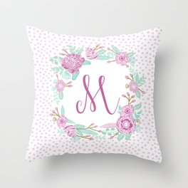 Monogram M - cute girls purple florals flower wreath, lilac florals, baby girl, baby blanket Throw Pillow
