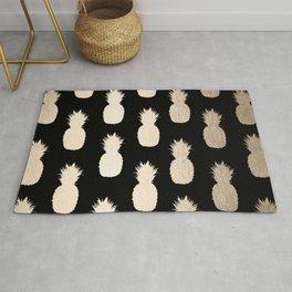 Gold Pineapples Pattern Black Rug