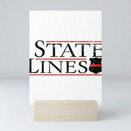 State Lines Firefighter Fireman Badge Mini Art Print