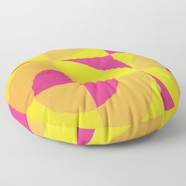 Geometric abstract hand painted neon pink yellow pattern Floor Pillow