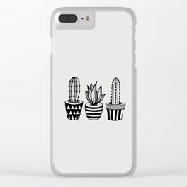 Cactus Plant monochrome cacti nature greyscale illustration floral succulent leaf home wall decor Clear iPhone Case