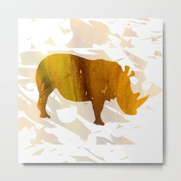 Colorful Art Rhino Abstract Yellow Metal Print