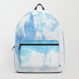 Abstract blush blue white watercolor brushstrokes pattern Backpack