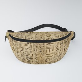 Egyptian hieroglyphs on papyrus Fanny Pack