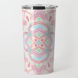 Mint and Blush Pink Painted Mandala Travel Mug